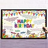 Tarjeta de Felicitación Grande de Happy Birthday Tarjeta Gigante Colorida de Feliz Cumpleaños, 21,6 x 13,8 Pulgadas Tarjeta de Mensaje Felicitación de Happy Birthday Pastel Globos Arcoíris
