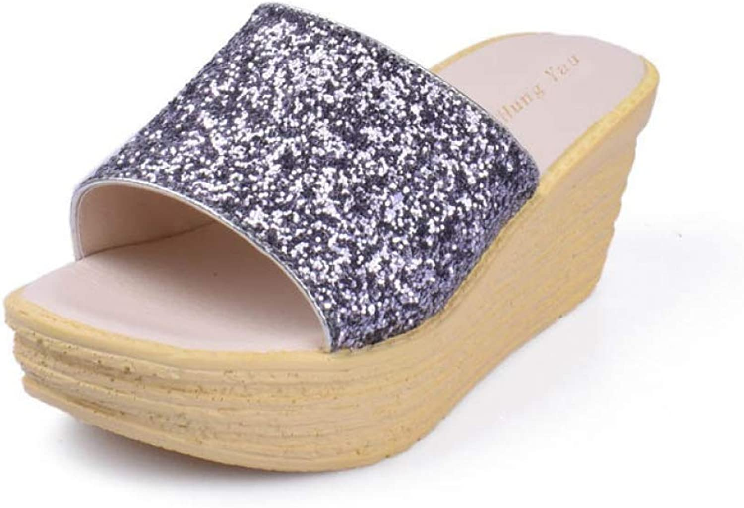 Btrada Women Platform Wedges Slippers Bring Sequins Comfortable Ladies Summer Waterproof Beach shoes
