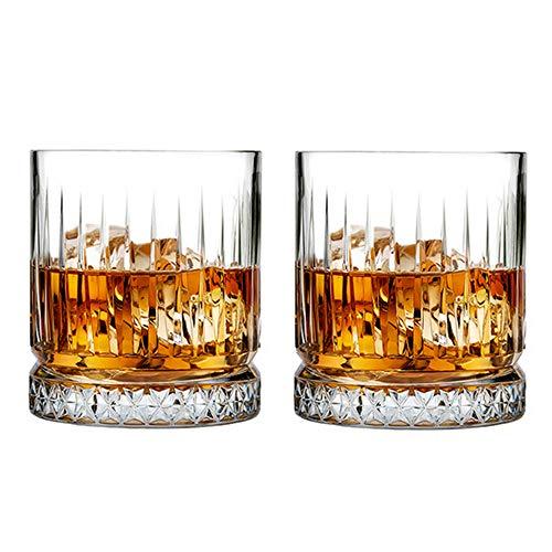 AIKASA Vasos facetados de whisky, estilo rockero, estilo vintage, 2 piezas, caja de regalo de lujo,parte inferior gruesa, whisky bourbon, perfecto para cócteles o bebidas mixtas 12oz(355ml)