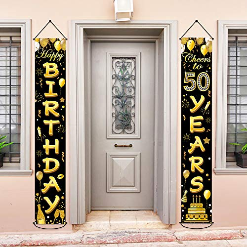 50th Birthday Party Banner Decorations Cheers to 50 Years Banner 50th Party Supplies Black Gold Welcome Porch Sign for Indoor Outdoor(50 Years Birthday)