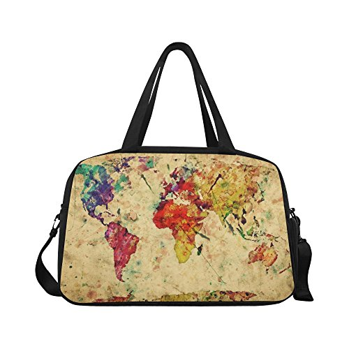 InterestPrint Vintage World Map Duffel Bag Travel Tote Bag Handbag Luggage