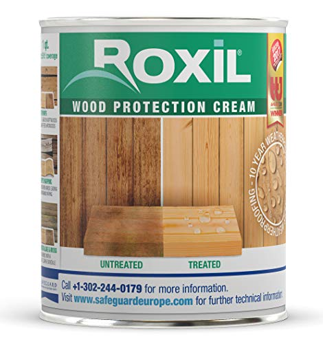 Roxil Wood Protection Cream (1 Quart) Instant Waterproofing Clear Treatment, Weatherproofs: Fences, Decking, Furniture, Sheds