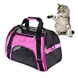 MuchL Cat Carrier Small Animal Carrier Soft-Sided Pet Travel Carrier for Cats Dogs Puppy Comfort Portable Foldable Pet Bag Airline Approved (Small Size ) (Purple)