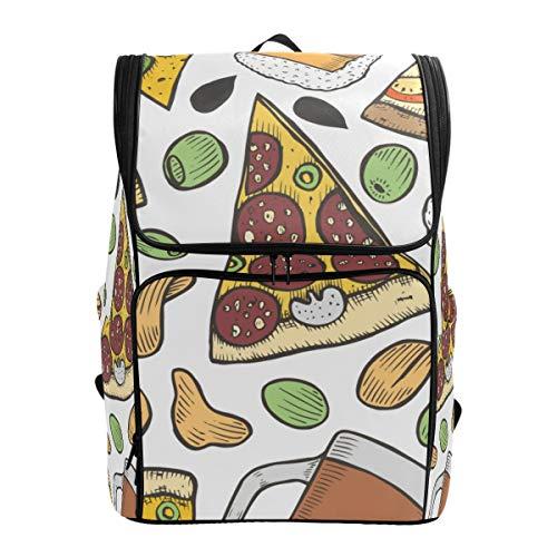 LISNIANY Rucksack,Hintergrund Bier Pizza alt,Computertasche,Schultasche,große Kapazität