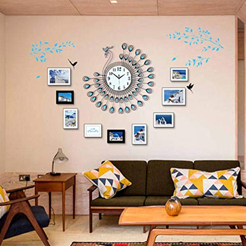 LCSD Reloj de pared de moda europea simple pavo real reloj de pared silencio reloj de cuarzo reloj +9 marco de fotos