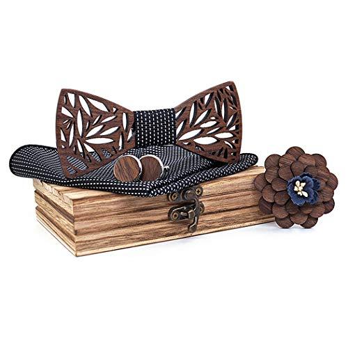 ZOYLINK Pajarita Moda hecha a mano de madera Pre-atado Bowtie con Cufflink Pocket Square Broche