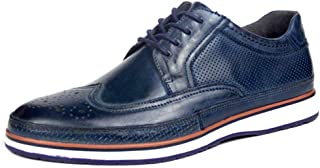 Men's Shoe Leather Oxford Brogue Oxfords Shoes for Men Wingtip Low Top Casual Lace Up Genuine Leather Stitch Round Toe Hollow Shoes Anti-Slip Abrasion Resistant (Color : Blue, Size : 5.5 UK)
