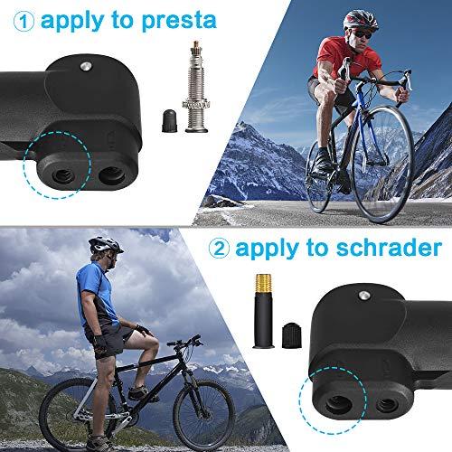 synmixx Mini Fahrradpumpe Fahrrad Luftpumpe für Fahrrad Max Druck 120 PSI/8 bar mit Presta & Schrader Minipumpen für Rennrad, Mountainbike - 2