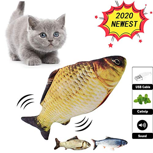 DOOGYEE Flopping Fish Cat Toy, Interactive Fish Toy, Flopping Fish for Cats, Electric Fish Cat Toy, Simulation Realistic Electric Doll Fish,Interactive Cat Toys for Indoor Cats,Toys for Cat Exercise