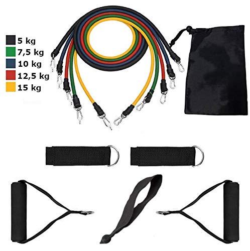 JBS basics [ Fitnessband Set Hometrainer Kit ] Widerstandsband Paket Fitnessbänder Gymnastikband [ Bänder Türanker Griffe Fussschlaufen Tasche Ganz-Körper-Workout Muskelaufbau