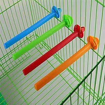 COMEYER Support d'oiseau en Plastique 5 pièces Outil d'entraînement de perchoirs de Couleur vive Jouet de meulage de Patte pour Accessoires de Cage à Oiseaux Couleur aléatoire