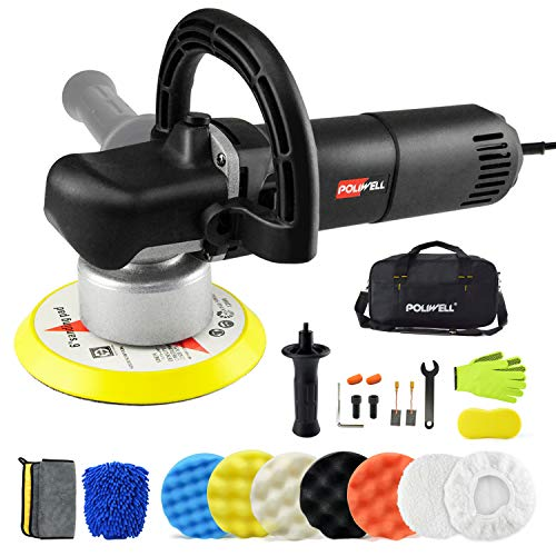POLIWELL 6 Inch Polisher Dual Action Random Orbital Car Buffer Polisher Kit Detachable Side/D-Handle, Variable Speed, 5 Polishing Pads, 2 Bonnet Pads, Cleaning Set for Auto Washing, Buffing and Waxing