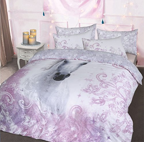 Sleepdown Juego de Funda de edredón con Estampado de Animales fotográficos, diseño inverso único, con Funda de Almohada (Bonito Rey de Unicornio)