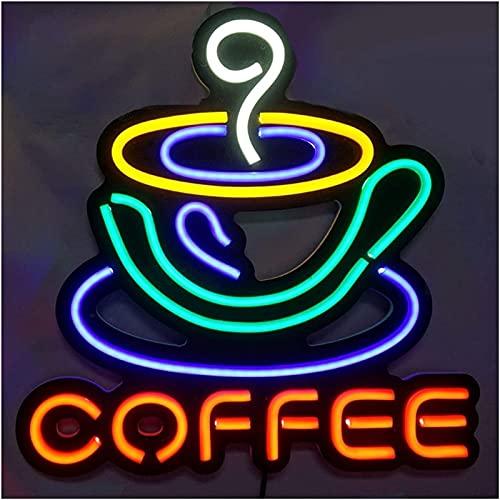 Lámpara de pared Letrero de neón personalizado, taza de café LED, luz LED flexible, barra colgante de pared, decoración, letrero, tienda, centro comercial, bar, fiesta, pub, luz comercial 36 * 35 cm