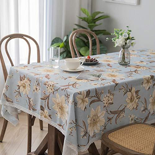 Kuingbhn Mantel Mesa Rectangular Lavable Cotton Linen Printing para Cocinas Exteriores o Interiores 130×200cm Gray Blue