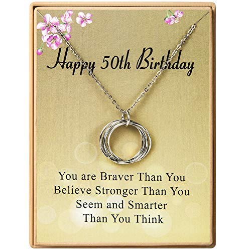 Happy 50th Birthday Gifts for Women Necklace Circles Pendant Necklace Birthday Gift for Women...
