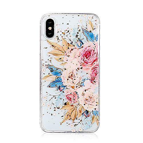 KNGYUTF mobiele telefoon beschermhoes voor iPhone XS Max XR 6 6S 7 8 Plus X Hot Classic uit goud poeder mandala kant, met bloemenpatroon Per iPhone XS Groen