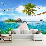 SDzuile 3D Tapete Möwe Kokosnussbaum Seelandschaft Himmel