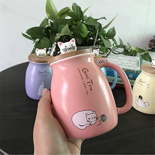 DISCOUNTL Becher, Kaffee zum Mitnehmen Becher, japanischer Stil süße Katze Becher Tasse kreative Keramik Löffel mit Deckel Paar Office Home Männer und Frauen Trinkbecher