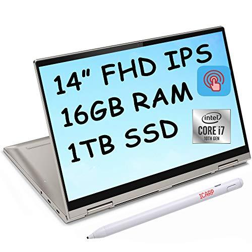 2021 Flagship Lenovo Yoga C740 14 2-in-1 Laptop 14' Full HD IPS Touchscreen Display 10th Gen Intel Quad-Core i7-10510U 16GB DDR4 1TB SSD Backlit Keyboard Fingerprint Dolby Webcam Win 10 + iCarp Pen