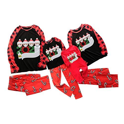 HEWYHAT Conjunto de pijama familiar a juego, Papá Noel suave de 2 piezas, juego de pijama para adultos, niños y bebés de vacaciones, para hombres, 2XL