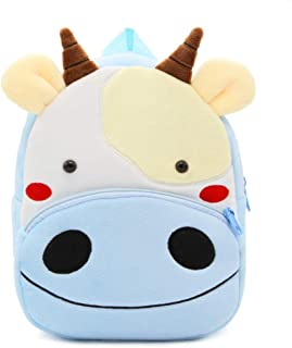 PANXD Cartoon Animal Plush Children Backpacks Kindergarten Schoolbag for Kids Age 1-6 Years Old (Cow)