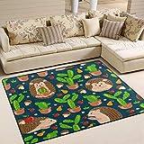 Alfombra grande de 182,88 x 122,92 cm, diseño de erizo, cactus y setas, alfombra antideslizante para sala de estar o dormitorio