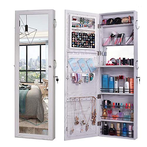 Jewellery Cabinet Armoire, Lockable Wall-Mounted Storage Organiser Unit For Necklace Earring,Hanging On The Wall,5layers Of Storage,3storage Boxes,1pull-out Board,with Inner Mirror,2 Silk Scarf Rings