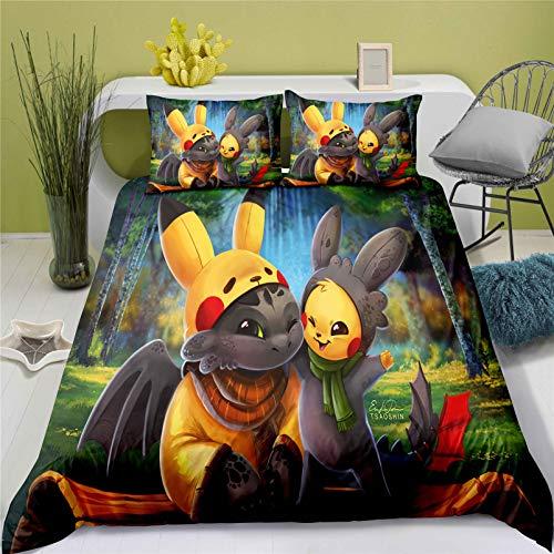 THAVASAM Pokémon - Juego de funda nórdica de fibra de poliéster extraíble para decoración del hogar (06, 135 x 200 cm)