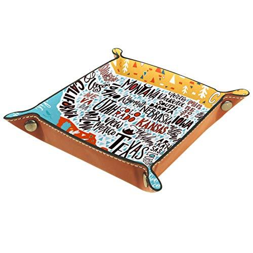 Tablett Leder,Amerikanisches Bildgeographieplakat,Leder Münzen Tablettschlüssel für Schmuck,Telefon,Uhren,Süßigkeiten,Catchall-Tablett für Männer & Frauen Großes Geschenk