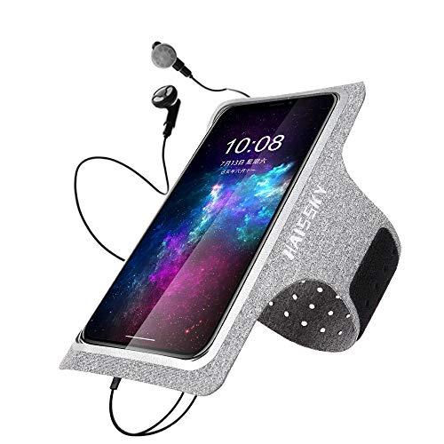 HAISSKY Schweißfest Sport Armband Fitness Schweißfeste Handytasche mit Schlüsselhalter und Kopfhörerloch für iPhone XS Max/XR/X/8 Plus/7 Plus Samsung S10 S9 S8 bis zu 6.5