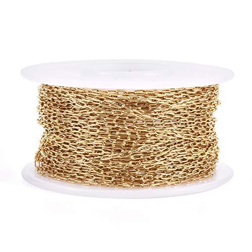 Cheriswelry Cadena de acero inoxidable 304 con clip dorado soldado, ovalado, rectangular, collar, pulsera, cadena de eslabones para joyería punk, manualidades