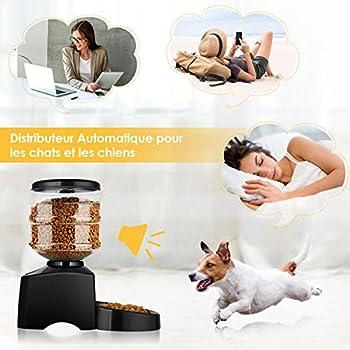 amzdeal 5.5L Distributeur Automatique de Nourriture pour Animaux, Distributeur Croquette pour Chat et Chien avec Messages Vocal, Distributeur programmable de 3 Repas