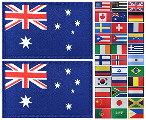 JBCD 2 Pack Australia Flag Patch Australian Flags Tactical Patch Pride Flag Patch for Clothes Hat Patch Team Military Patch