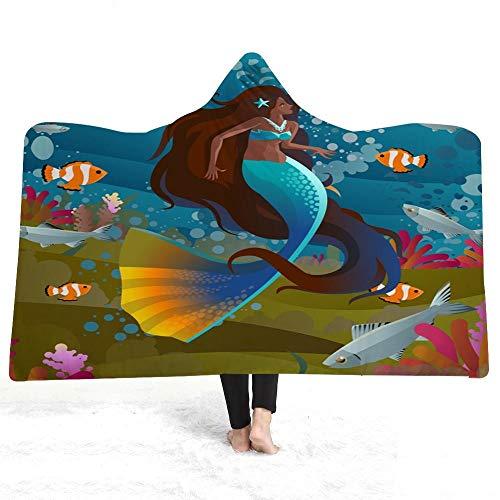Manta con Capucha 150x200 cm Sirena Azul Impresión en Color 3D Lana Super Suave Manta Caliente de Tejido Sherpa, Suave y cálida para Interior, Camping, sofá y sillón reclinable