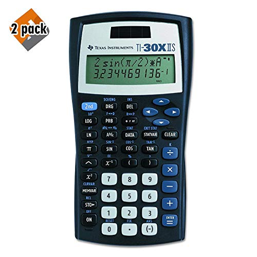 Texas Instruments TI-30X IIS 2-Line Scientific Calculator, Black with Blue Accents - 2 Pack