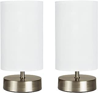 MiniSun - Set de 2 lámparas de mesa modernas táctiles - Cilindras con bases en cromo - Pantallas blancas - Iluminación interior - Lámparas modernas - Mesilla de noche