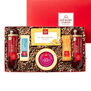 Hickory Farms Beef Summer Sausage & Cheese Medium Gift Box   Gourmet Food Gift Basket Perfect For Birthday Congratulations Sympathy Food Care Packages Retirement Thinking of You Corporate Gifts