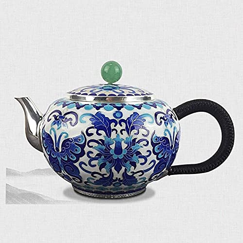 ZQADTU Tetera de Plata Taza de té de Plata esterlina Tetera Gongfu Antiguo Juego de té Tradicional Tetera Vajilla para el hogar Idea de Regalo Mujeres (Color: AG s999 Peso 410 g, tamaño: Gratis)