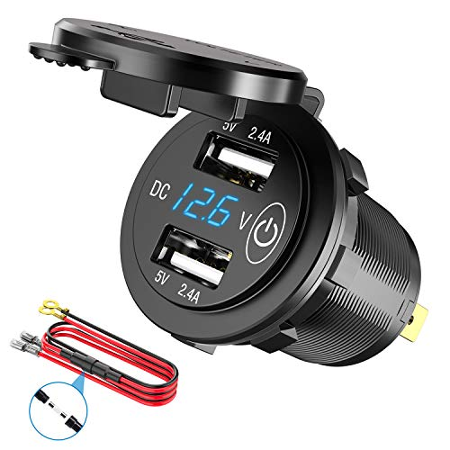 12V USB Outlet, SunnyTrip Waterproof 12V/24V 24W 4.8A Dual USB Charger Socket Power Outlet Adapter with LED Digital Voltmeter and Switch for Car Marine Boat Motorcycle Truck Golf Cart and Mobile
