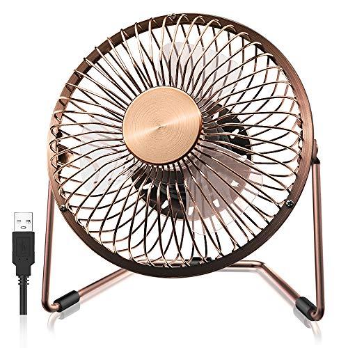 FUNME Mini USB Ventilator Tragbar 5 Zoll Lüfter Tischventilator Portable Fans 360 Grad Drehung Persönlicher Ventilatoren mit Metallbügel für Büro Haus Reisen Outdoor (Bronze)