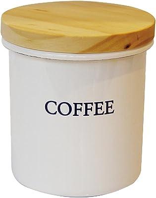 リリーホワイト ホーロー キャニスター 750ml (木蓋) 「COFFEE」 YL-803