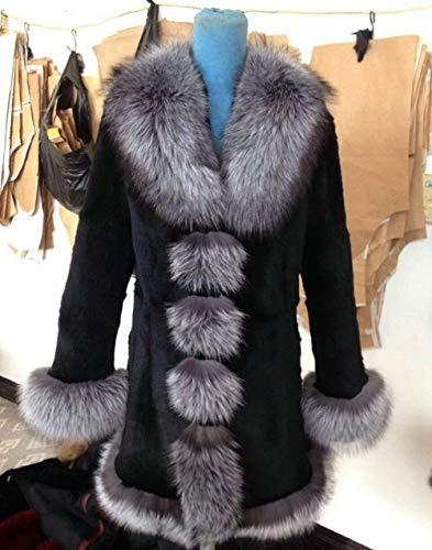 YRFDM Warmer Mantelm,Mantel Jacke Kragen Manschette Saum Herbst Winter Frauen Oberbekleidung Mäntel Plus Größe 4XL 5XL, Silberfuchs, M Mantel Büste 92CM
