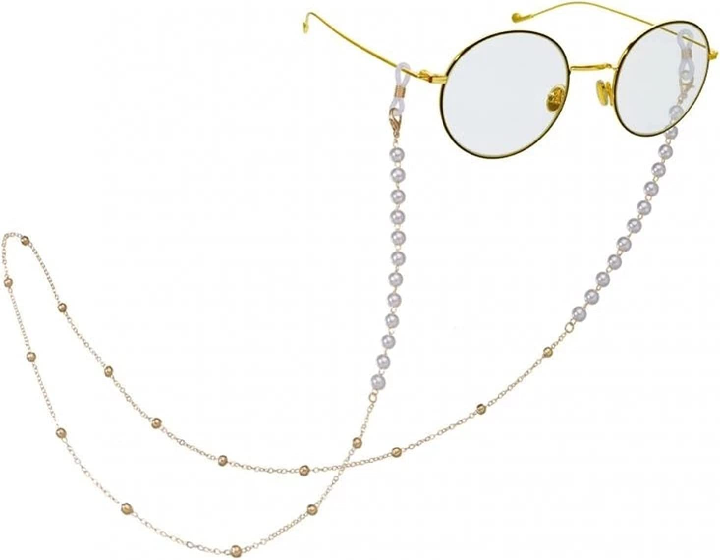 Sunglasses Chain Lanyard Necklace Holder Fashion Pearl Glasses Chain Women Men Eyeglass Retainer Cord (Color : Gold)