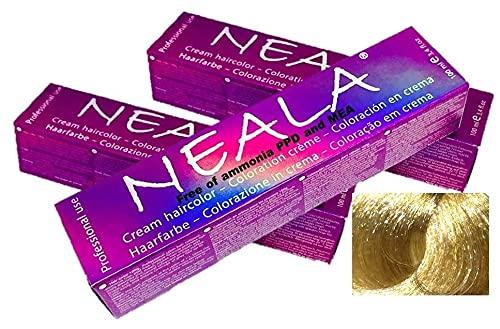 Pack 3 tintes permanente profesional para el cabello sin amoniaco y sin PPD - 12.3- SUPERACLARANTE DORADO - NEALA 3x100ml.