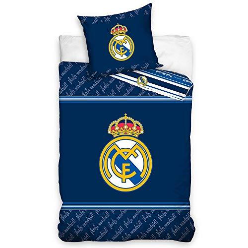 Real Madrid - Juego de cama (funda nórdica de 140 x 200 cm y funda de almohada de 63 x 63 cm, algodón)