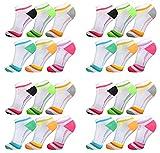 AlbTrade 24 Paar Damen Sneaker Socken Baumwolle Weiß Bunt (35/38, Weiß 24x)