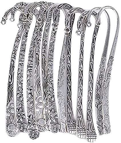HOUSWEETY 12pc Mixed Antique Tibetan Silver Carved Hook Bookmarks [Office Product]