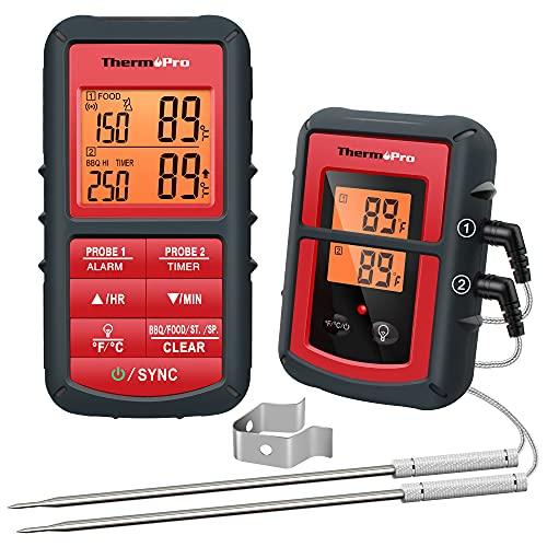 ThermoPro TP08C digitales Küchenthermometer Funk Fleischthermometer mit 2 Fühlern Kochthermometer Ofenthermometer Küchenuhr für BBQ Kochen Grill Ofen