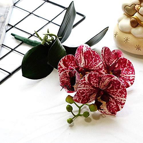 4Hoofden / tak Orchidee minitak met stengelbladeren Kunstbloemen Vlinderorchidee voor thuis Bruiloft Decoratie flores, A